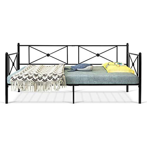 COSTWAY 2 in 1 Sofa- und Bettgestell mit Lattenrost, Metallbett 90 x 200cm, Bettrahmen Stahl, Tagesbett Schlafsofa Gestell geeignet für Gästezimmer, Wohnzimmer, schwarz