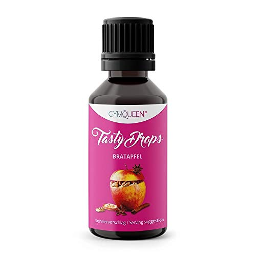 GymQueen Tasty Drops 30ml / Kalorienfreie, Zuckerfreie und Fettfreie Flavour Drops / Aroma Tropfen zum Süßen von Lebensmitteln / Geschmackstropfen ohne Künstliche Farbstoffe / Bratapfel