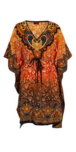 Kaftan Kurzes Orientalisches Tunika-Stil, Afrikanischer Boubou Kleid Sommer Kaftan Djellaba Damen Boheme Tunika Strand Beachwear Oversize Tunika Kaftan Gr. One size, Orange