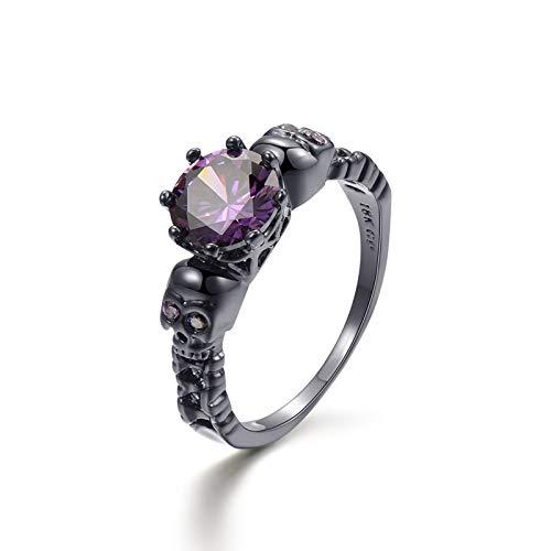 XinLuMing Juego de anillos de rectificación de cobre vintage, joyas para la novia, anillo de compromiso para mujer (tamaño: 9)