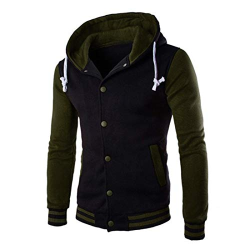 Uomo Top,Giacca Baseball Cappotto Uomo Inverno Autunno Felpa Manica Lunga con Cappuccio Giacca Outwear Tops Caldo Hooded Sweatshirt Jacket Moda Outwear Coat XL