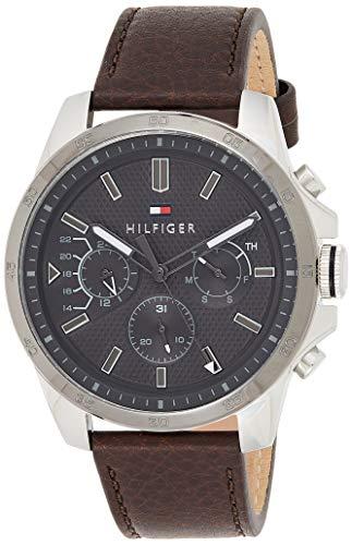 Tommy Hilfiger Mens Multi wijzerplaat Quartz Horloge met Lederen Band 1791562