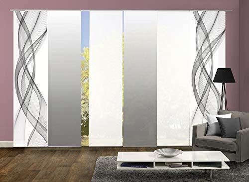 wohnfuehlidee 6er-Set Flächenvorhang, Deko Blickdicht, Mariella, Höhe 245 cm, 2X Dessin grau / 2X Uni weiß Blickdicht / 2X Farbverlauf grau