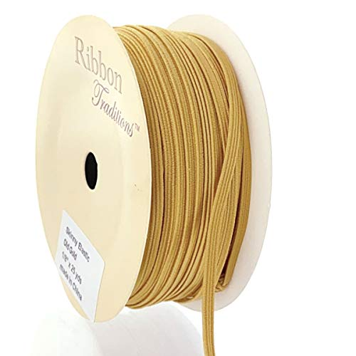 1/8' Width Skinny Elastic Band - Braided Cord - Old Gold 25 Yards - USA Warehouse