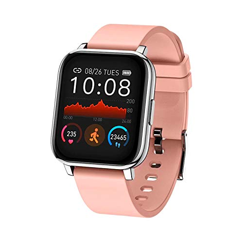 Smart Watch, Fitness Tracker with Heart Rate Blood Pressure Oxygen Sleep Monitor Activity Tracker Pedometer Waterproof for Android iPhone Best Gift for Women Men (Pink)