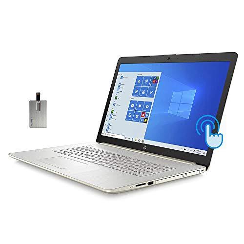 "2021 HP 17.3"" HD+ Touchscreen Laptop Computer, 10th Gen Intel Core i5-1035G1, 16GB RAM, 512GB PCIe SSD, Full-Size KB, HD Audio, HD Webcam, Intel UHD Graphics, Win 10, Gold, 32GB SnowBell USB Card"