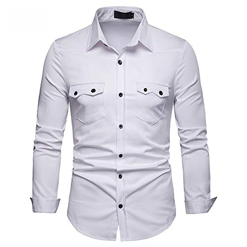 Photo of Mens Shirt Slim Casual Men's Plus Size Slim Shirt Men's Solid Color Embroidered Long Sleeve Shirt Men's Double Pocket Student boy Cardigan Point Collar Slim Shirt Lightweight Breathable Casual