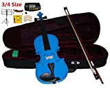 Merano 3/4 Size Blue Violin with Case and Bow+Extra Set of String, Extra Bridge, Shoulder Rest, Rosin, Metro Tuner, Music Stand, Mute