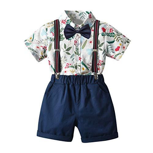 Julhold Traje de caballero para niños pequeños y niñas, vestido de cárdigan con lazo, camiseta floral, pantalones cortos con correa para el cuello corto, juego de tamaño mediano