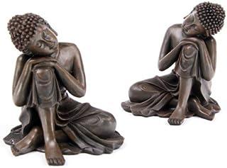 Juego de 2 o con aspecto de madera marrón de ensamblaje de ornamentos de una figura decorativa de Buda figura de dos mujeres