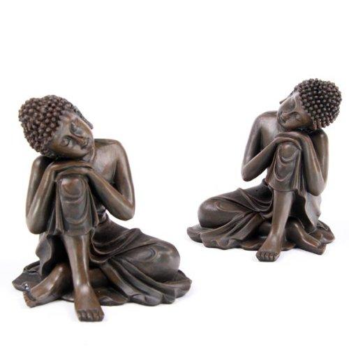 Set von 2braun Ausruhen Holz Effekt Thai Buddha Figuren Ornaments