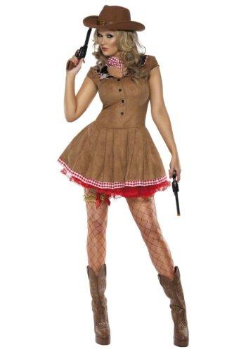 EL CARNAVAL Disfraz de Vaquera para Mujer Medidas: Espalda 40cm - Cadera 49cm - Largo 82cm Incluye: Vestido y pañuelo. Divertido Disfraz también para Despedidas de Soltera. Corresponde a una Talla 42