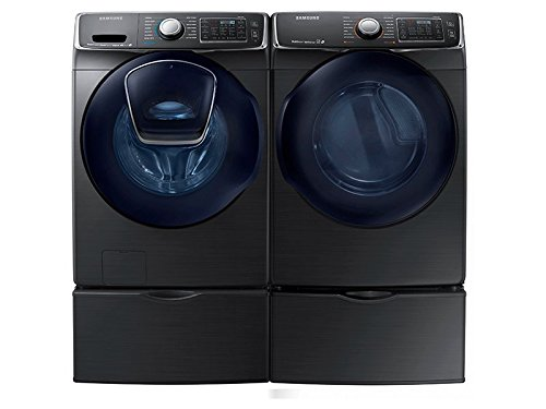 Samsung Mega Capacity HE Front Load Laundry with Innovative Add-A-Wash Door and ELECTRIC DryerPLUS Matching Pedestals (WF50K7500AV + DV50K7500EV+ WE357A0V X 2) Alluring Black Stainless Steel