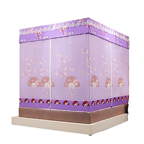 Net Mosquitera Jane Cama Cama Matrimonio Sentado Cama Litera Cortina Sombreado Cremallera,Purple,120x200cm