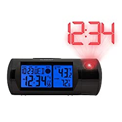 La Crosse Technology 616-143 Projection Alarm Clock with Backlight with in/Out Temp, Black