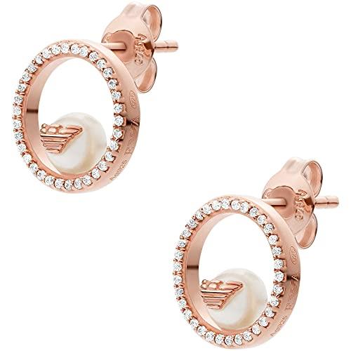 Emporio Armani EG3523221 - Pendientes de plata de ley para mujer, color oro rosa