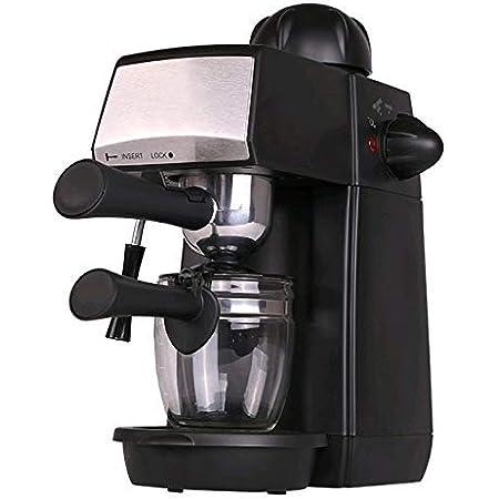 Grunkel - CAFPRESO-H5 BAR - Cafetera espresso con 5 bares de presión y capacidad para 4 tazas. Pistola de espuma con dispositivo de seguridad integrada - 870W - Negro y Acero