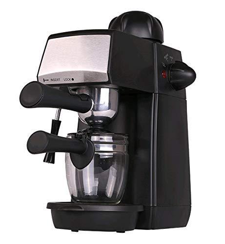 Grunkel - CAFPRESO-H5 PRES - Cafetera espresso con 5 bares de presión y capacidad para 4 tazas. Pistola de espuma con dispositivo de seguridad integrada - 870W - Negro y Acero