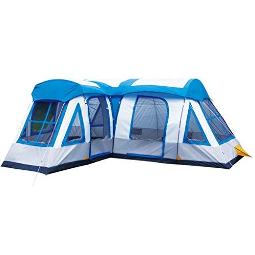 Tunnelzelte Zeltqualität Riesenzelt Zelt 8 Personen 10 Personen 12 Personen Zelt Outdoor Camping Zelt Regen Zweischichtzelt Dreiraum-Mehrpersonen-Großzelt (Color : Blue, Size : 600 * 540 * 213cm)