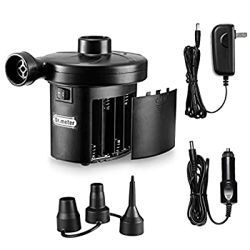 Electric Air Pump Air Mattress Pump with 3 Nozzles Dr.meter Battery Powered Portable Air Pump 110-120V AC/12V DC Quick-Fill Inflator/Deflator for Outdoor Camping Inflatables Raft Bed Boat Pool Toy