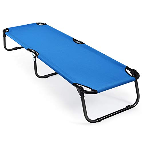 Goplus Folding Camping Cot, Heavy Duty Collapsible Foldable Bed for Kids Adults with Non-Slip Foot Mat, Indoor Outdoor Portable Single Sleeping Bed for Hiking, Camping, Fishing