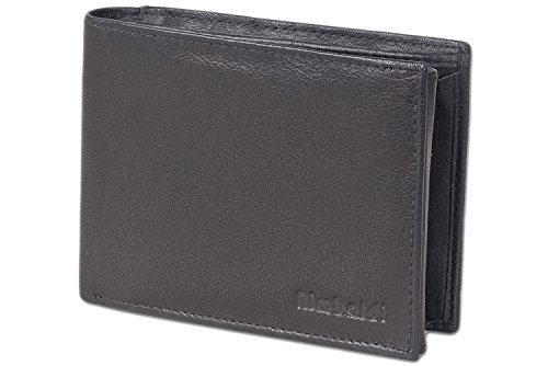 Rinaldo® Querformat Riegelbörse mit RFID/NFC Blocker aus weichem Rindsleder mit Voll-Lederboden im Hartgeldfach in Schwarz