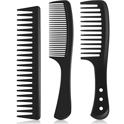 3 Pieces Wide Tooth Detangling Hair Comb Detangling Hair Comb Hair Styling Comb Set, Carbon Fiber Styling Cutting Comb Anti Static Heat Resistant Comb for Curly Straight Long Hair, Black