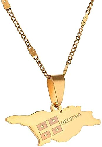 niuziyanfa Co.,ltd Necklace Necklace Stainless Steel Georgia Map Pendant Necklace Gold Color Georgian Map Chain Necklace Jewelry