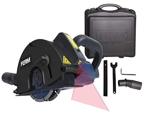 FERM Scanalatore 1700W 125mm. Dotato di Laser. Include 2 lame diamantate (125mm) e adattatore aspirapolvere