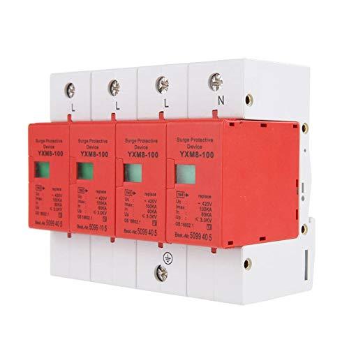 Keenso hus överspänningsskydd, 4P 220V 100kA brandskydd hus överspänningsskydd Din Rail lågspänningsskyddare för blixtskydd