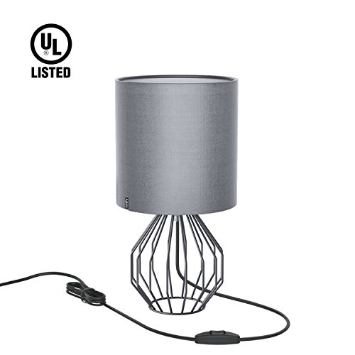 Aglaia Desk Lamp, Nightstand Lamp, Bedside Minimalist Fabric Table Lamp, Modern Silver Chrome Metal Basket Cage Style with a Silver Gray Fabric Shade and 4W LED Bulb [Warm White]