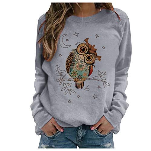 Zilosconcy Suéter Mujer Invierno Huella animal Sudaderas Cortos Cuello Redondo Jersey Mujer Otoño Primavera Blusa Tops Sudaderas Adolescentes Chicas Suéter Pullover Tops
