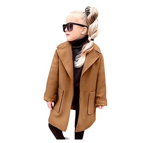 HWTOP Kinderkleidung Kleinkind Baby Mädchen Mantel Wollmantel Winter Windbreaker Winddichte Warme Trenchcoat Outwear Übergangsjacke Jacke Baumwollmantel, Brown, 3-4 Jahre