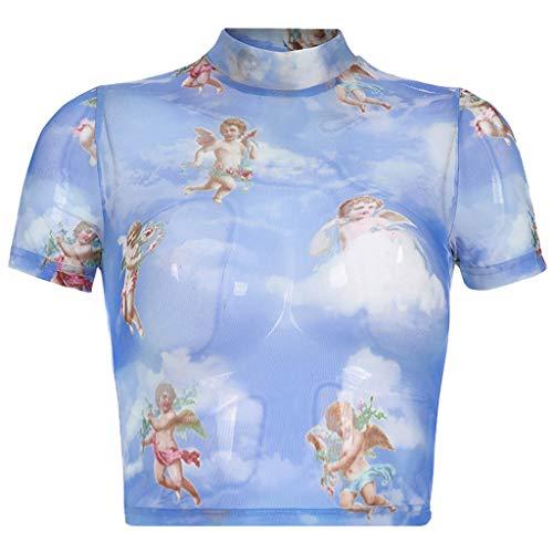 TWIFER Engel Gedruckt Sommer T Shirt Damen Mode Casual Kurzarm Rollkragen Gedruckt Kurze Tops T Shirt Bluse