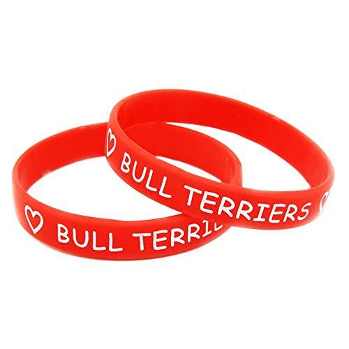 XiXi Amor Bull Terriers de Silicona Pulsera de la Pulsera de la Pulsera for Colorear (Color : Red)