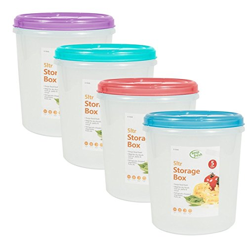 Invero 4X Pack of Large 5 Litre Kitchen Food Storage Box Containers Tubs with Colourful Lids - Ideal Storage for Pasta, Cereal, Rice, Pet Food, Dried Food and More