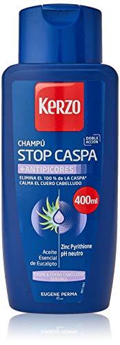 Kerzo - Champú Stop Caspa - Antipicores - Elimina el 100% de la Caspa y Calma el Cuero Cabelludo, con Aceite Esencial de Eucalipto, Blanco, 1200 Mililitros, Pack de 3