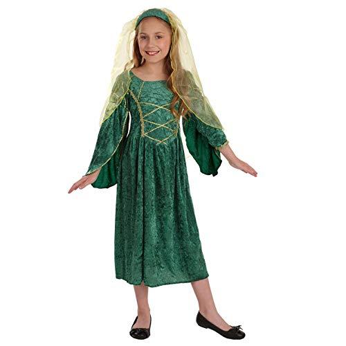 Fun Shack Déguisement pour Enfant Costume de Princesse Tudor Vert pour Fille - Taille XL