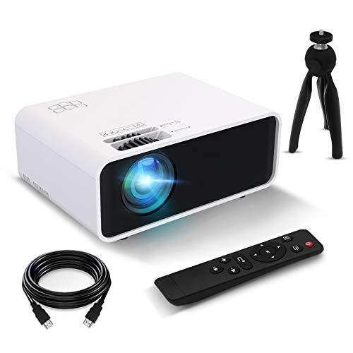 """Mini Projector, FUNCILIT Video Projector Portable Outdoor Movie Projector, 4600 lux,55000 Hours LED,Full HD 1080P and 200"""" Supported, Compatible with TV/PC/PS4 via HDMI,VGA,TF,AV & USB[2021 Version]"""