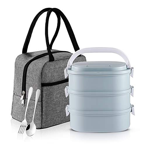 Bento Box, Slaipo 3-In-1 Lunch Box with Insulated Lunch Bag Fork Spoon, Built-in Stainless Steel Container, and Sealing Lids, Stackable Leak-proof Lunch kit for Adult Student Kids (3 Tiers, Blue)