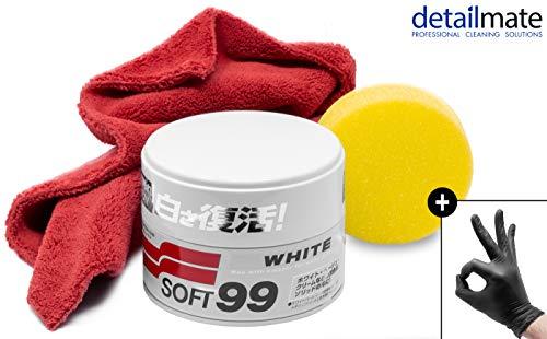 detailmate Wachs Set: Soft99 White Soft Wax für weiße/helle Autolacke 350 gr, Ultra Flauschiges Mikrofaser Poliertuch 550 GSM, 2 Nitril Schutzhandschuhe