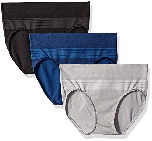 professional Warner's Blissful Benefits 3 Seamless Hipster Briefs Set, Black / Navy / Smoke Pearl, L.