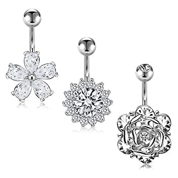 AceFun Flower Belly Button Rings 14G 3Pcs Surgical Steel Belly Rings Big CZ Diamond Belly Barbell Navel Rings Piercing Jewelry for Women Girl