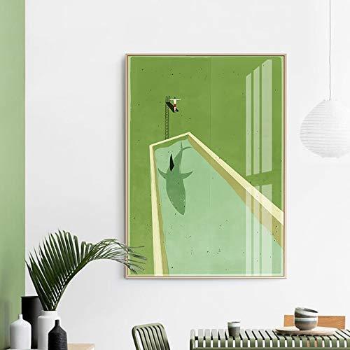 Cuadro de lienzo de buceo de tiburón verde abstracto, impresión de cartel de Escandinavia, imágenes artísticas de pared para sala de estar, decoración del hogar, SIN MARCO K40 40x60cm