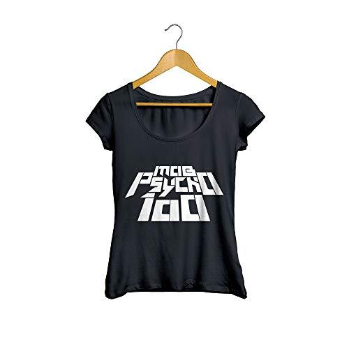 Camiseta Baby Look Mob Psycho Anime Feminino Preto Tamanho:G