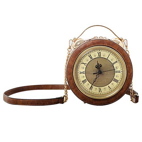 WTALL Moda PU Cuero Mujer señora Vintage Reloj Redondo Bolso Bandolera Bandolera