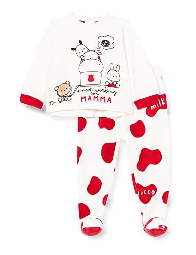 Chicco Completino Maglietta e Pantaloni in ciniglia Juego de Pijama, Blanco y Rojo, 56 cm Unisex...