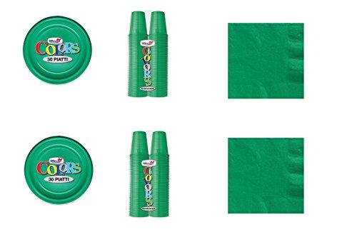 CDC - Kit n°1 Coordinato Monocolore Verde da tavola per Festa e Party ed Ogni ricorrenza - (30 Piatti, 100 Bicchieri, 50 tovaglioli)