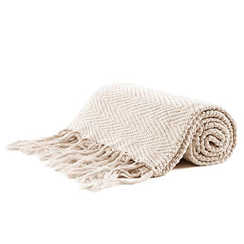 Longhui bedding Fringe Knit Cotton Throw Blanket, 50 x 63 Inches Decorative Knitted Cover with 6 Inches Tassels, Bonus Laundry Bag - 3.12lb Weight, Couch Blankets, Cream