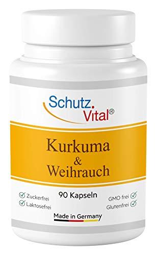 Kurkuma Kapseln mit Weihrauch hochdosiert - je 600 mg Curcuma Extrakt und Boswellia Serrata mit 65% Boswelliasäure und Curcumin, 90 Kapseln, Laborgeprüft, hergestellt in Deutschland